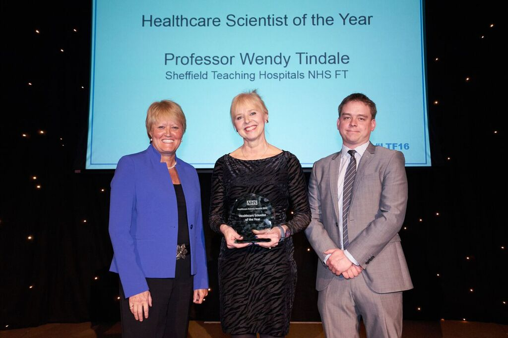 Professor Wendy Tindale (centre) with Professor Sue Hill (NHS Chief Scientific Officer for England) and Dave West (of sponsors Health Service Journal)