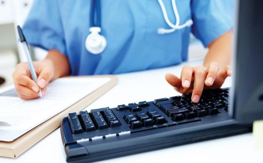 Clinician uses keyboard and new technology to enable faster turnaround of test results